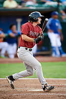 Reed Rohlman (19) of the Idaho Falls Chukars follows through on a swing during a game against the Ogden Raptors at Lindquist Field on August 29, 2018 in Ogden, Utah. Idaho Falls defeated Ogden 15-6. (Stephen Smith/Four Seam Images)