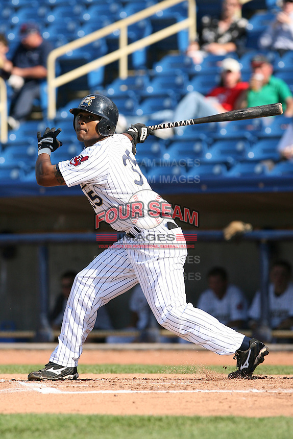 June 11th 2008:  Lucas Montero of the Lake County Captains, Class-A affiliate of the Cleveland Indians, during a game at Classic Park in Eastlake,OH.  Photo by:  Mike Janes/Four Seam Images