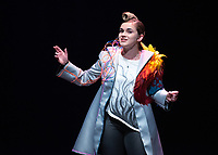 """Rosie Stevenson as DOMINATOR<br /> Photo from the dress rehearsal of the Occidental College Department of Theater presentation of U-R-U by Julia Lederer, directed by Edgerton Guest Artist Jessica Kubzansky, Nov. 28, 2018 in Keck Theater.<br /> First daughter Helen Spectacular travels to Robo Island (Silicon Valley meets the Bermuda Triangle) on a secret mission to free thousands of robots from servitude. Absurdly comic and existentially chilling, U-R-U examines the societal obsession with progress at all costs and the decreasing worth of humanity in this increasingly artificial world.<br /> U-R-U is based on a 1920 science fiction play by the Czech writer Karel Čapek called R.U.R., which was the first time the word """"robot"""" was used.<br /> (Photo by Marc Campos, Occidental College Photographer)"""
