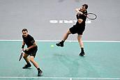 3rd November 2017, Paris, France; Rolex Masters tennis tournament;  Jamie Murray (gbr) and Bruno Soares (bra) in their game against Pierre Hugues Herbert and Nicolas Mahut (Fra)