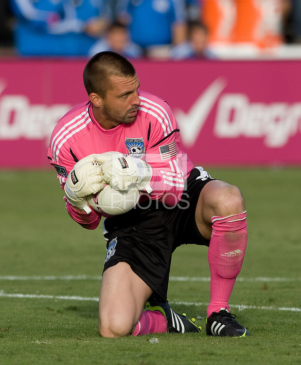 San Jose Earthquakes goalkeeper Jon Busch makes a save during the game against Galaxy at Buck Shaw Stadium in Santa Clara, California on October 21st, 2012.  San Jose Earthquakes and Los Angeles Galaxy tied at 2-2.