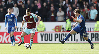 Burnley's Ashley Westwood passes despite the attentions of Leicester City's Adrien Silva<br /> <br /> Photographer Rich Linley/CameraSport<br /> <br /> The Premier League - Burnley v Leicester City - Saturday 14th April 2018 - Turf Moor - Burnley<br /> <br /> World Copyright &copy; 2018 CameraSport. All rights reserved. 43 Linden Ave. Countesthorpe. Leicester. England. LE8 5PG - Tel: +44 (0) 116 277 4147 - admin@camerasport.com - www.camerasport.com