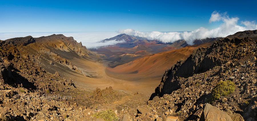 The view across Haleakala Crater in Haleakala National Park, Maui's dormant volcano, Hawaii.