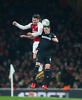 Arsenal Sead Kolasinac and West Ham's Declan Rice during the Carabao Cup QF match between Arsenal and West Ham United at the Emirates Stadium, London, England on 19 December 2017. Photo by Andrew Aleksiejczuk / PRiME Media Images.