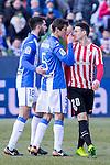 Club Deportivo Leganes's Pablo Insua, Martin Mantovani and Atletic de Bilbao's Aritz Aduriz  during the match of La Liga between Leganes and Athletic Club at Butarque Stadium  in Madrid , Spain. January  14, 2017. (ALTERPHOTOS/Rodrigo Jimenez)
