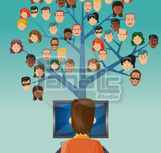 Conceptual image of man connecting to people around the world through computer