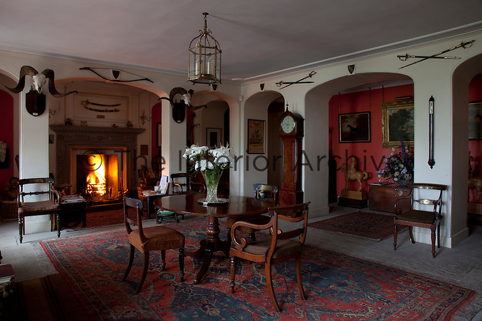 The Laigh (low) Hall, originally two rooms, retains the original Jacobean fireplace, dated 1622