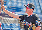 7 March 2016: Miami Marlins catching coach Brian Schneider chats with fans prior to a Spring Training pre-season game against the Washington Nationals at Space Coast Stadium in Viera, Florida. The Nationals defeated the Marlins 7-4 in Grapefruit League play. Mandatory Credit: Ed Wolfstein Photo *** RAW (NEF) Image File Available ***