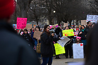 Washington, DC - February 11, 2017: Deyanira Aldana, an undocumented immigrant and national organizer for United We Dream, speaks to people assemble near the White House in Washington February 11, 2017 for a protest against the latest immigration raids and deportations by U.S. Immigration and Customs Enforcement agents.  (Photo by Don Baxter/Media Images International)