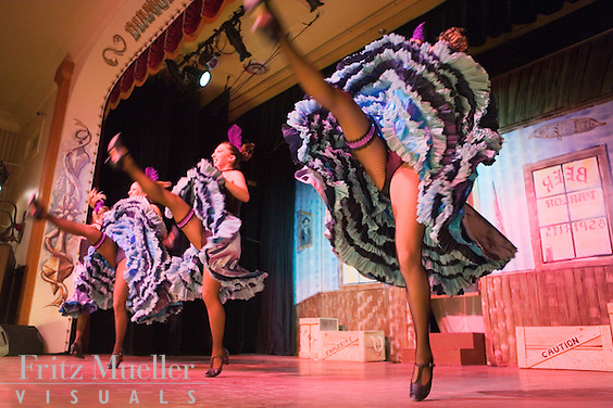 Cancan dancers performing at Diamond Tooth Gertie's Dancehall in Dawson City, Yukon