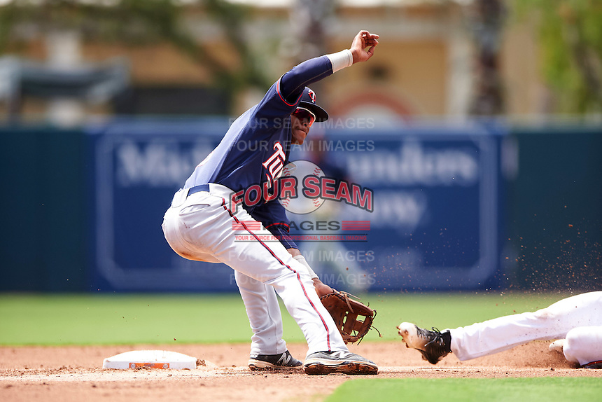 GCL Twins shortstop Gorge Munoz (2) waits for a throw during a game against the GCL Orioles on August 11, 2016 at the Ed Smith Stadium in Sarasota, Florida.  GCL Twins defeated GCL Orioles 4-3.  (Mike Janes/Four Seam Images)