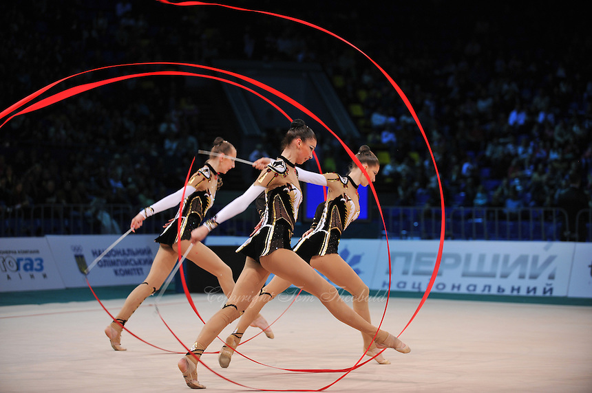 "Ukrainian senior group performs in Event Finals at 2011 World Cup Kiev, ""Deriugina Cup"" in Kiev, Ukraine on May 8, 2011."