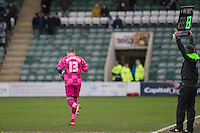 Veteran goalkeeping coach Barry Richardson comes on during the Sky Bet League 2 match between Plymouth Argyle and Wycombe Wanderers at Home Park, Plymouth, England on 30 January 2016. Photo by Mark  Hawkins / PRiME Media Images.