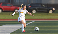 Western New York Flash defender Alex Sahlen (2) passes the ball.  In a National Women's Soccer League Elite (NWSL) match, the Boston Breakers (blue) tied Western New York Flash (white), 2-2, at Dilboy Stadium on June 5, 2013.