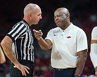 NWA Democrat-Gazette/BEN GOFF @NWABENGOFF <br /> Mike Anderson, Arkansas head coach, argues with an official in the second half vs Tusculum Friday, Oct. 26, 2018, during an exhibition game in Bud Walton Arena in Fayetteville.