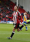 Stefan Scougall of Sheffield Utd celebrates his goal during the English League One match at the Bramall Lane Stadium, Sheffield. Picture date: November 19th, 2016. Pic Simon Bellis/Sportimage