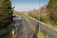 Pictured: The A483 Fabian Way dual carriageway is empty of cars during rush hour in Swansea, Wales, UK. Tuesday 24 March 2020<br /> Re: Covid-19 Coronavirus pandemic, UK.