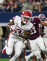 Hawgs Illustrated/Ben Goff<br /> Mike Woods, Arkansas wide receiver, catches a pass for a 29-yard touchdown under defense from Charles Oliver, Texas A&M cornerback, in the 4th quarter Saturday, Sept. 29, 2018, during the Southwest Classic at AT&T Stadium in Arlington, Texas.