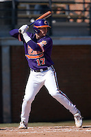 John Nester (17) of the Clemson Tigers at bat versus the Wake Forest Demon Deacons during the first game of a double header at Gene Hooks Stadium in Winston-Salem, NC, Sunday, March 9, 2008.