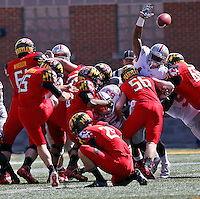 Maryland Terrapins place kicker Brad Craddock (15) scores in the first quarter of their game at Byrd Stadium in College Park, Maryland on October 4, 2014. (Columbus Dispatch photo by Brooke LaValley)