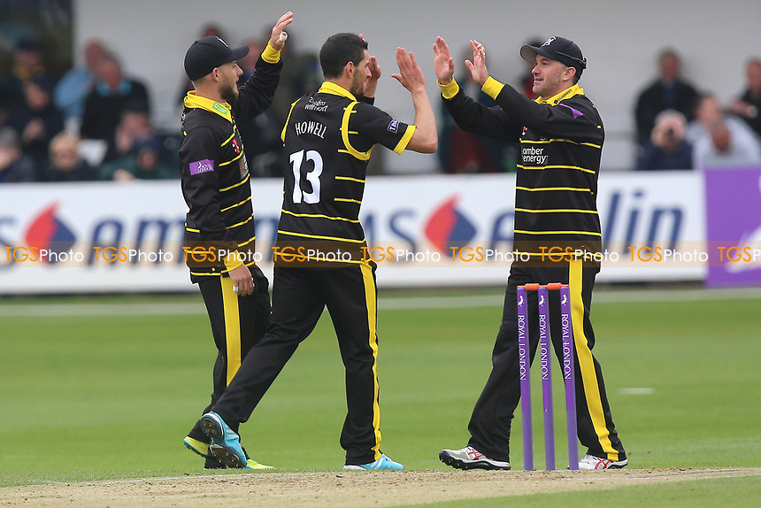 Benny Howell (C) of Gloucestershire is congratulated by his team mates after taking the wicket of Nick Browne during Essex Eagles vs Gloucestershire, Royal London One-Day Cup Cricket at The Cloudfm County Ground on 4th May 2017