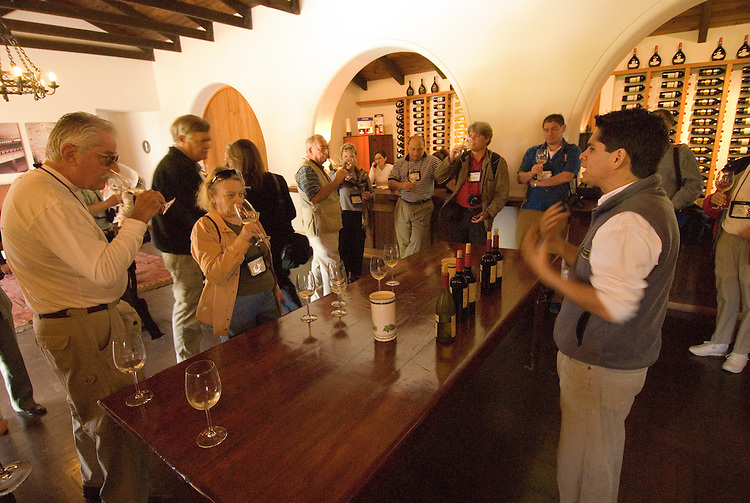 Chile Wine Country: Tasting room at Undurraga Winery, Vina Undurraga, near Santiago, with tour group tasting..Photo #: ch442-33921.Photo copyright Lee Foster, 510-549-2202, www.fostertravel.com, lee@fostertravel.com.