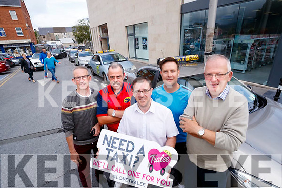 """Launching the new """"Need a Taxi"""" campaign at Taxi Rank at Abbeycourt in Tralee on Tuesday were from left: Pat O'Carroll, Joe Flaherty, John Drummey, Tralee Chamber Alliance, Philip Beirne and Tim Hallissey."""