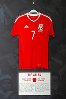 Joe Allens' 2015/17 Wales home shirt is displayed at The Art of the Wales Shirt Exhibition at St Fagans National Museum of History in Cardiff, Wales, UK. Monday 11 November 2019