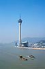 Macau Sky Tower.  This is a communications & entertainment venue with an observation level for views of the Pearl River Delta & Macau generally.  Built in 2001, it is one of the tallest towers in the world.
