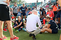 Cary, North Carolina  - Saturday June 03, 2017: Paul Riley talks to his team after a regular season National Women's Soccer League (NWSL) match between the North Carolina Courage and the FC Kansas City at Sahlen's Stadium at WakeMed Soccer Park. The Courage won the game 2-0.