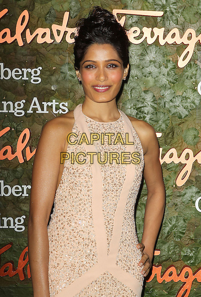 Freida Pinto<br /> Wallis Annenberg Center For The Performing Arts Inaugural Gala held at Wallis Annenberg Center For The Performing Arts,  Beverly Hills, California, USA, 17th October 2013.<br /> half length beige cream long maxi dress sleeveless beaded hand on hip nude<br /> CAP/ADM/KB<br /> &copy;Kevan Brooks/AdMedia/Capital Pictures
