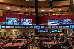 New Haven, CT. 08 December 2018-120818 - A lone bettor checks his phone as a variety of sports are broadcast above on a plethora of TV's at Sports Haven in New Haven on Saturday. The new Governor elect Lamont has said repeatedly he supports of legalized sports betting in the state. Bill Shettle Republican-American