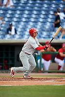 Palm Beach Cardinals catcher Jeremy Martinez (13) follows through on a swing during a game against the Clearwater Threshers on April 14, 2017 at Spectrum Field in Clearwater, Florida.  Clearwater defeated Palm Beach 6-2.  (Mike Janes/Four Seam Images)