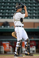 Lakeland Flying Tigers catcher Grayson Greiner (3) during a game against the Palm Beach Cardinals on April 16, 2015 at Joker Marchant Stadium in Lakeland, Florida.  Palm Beach defeated Lakeland 6-0.  (Mike Janes/Four Seam Images)
