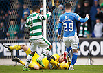 St Johnstone v Celtic...13.12.15  SPFL  McDiarmid Park, Perth<br /> Craig Gordon saves at the feet of Michael O'Halloran<br /> Picture by Graeme Hart.<br /> Copyright Perthshire Picture Agency<br /> Tel: 01738 623350  Mobile: 07990 594431