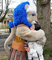 Bath Rugby mascot Maximus mingles with supporters prior to the match. European Rugby Champions Cup match, between Bath Rugby and RC Toulon on January 23, 2016 at the Recreation Ground in Bath, England. Photo by: Patrick Khachfe / Onside Images