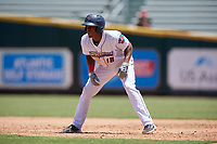 Jacksonville Jumbo Shrimp Magneuris Sierra (18) leads off first base during a Southern League game against the Tennessee Smokies on April 29, 2019 at Baseball Grounds of Jacksonville in Jacksonville, Florida.  Tennessee defeated Jacksonville 4-1.  (Mike Janes/Four Seam Images)