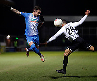Brad Barry (L) of Barrow competes for the ball with Aaron Simpson during Dover Athletic vs Barrow, Vanarama National League Football at the Crabble Athletic Ground on 4th February 2020