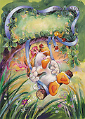 Ron, CUTE ANIMALS, Quacker, paintings, duck, swing(GBSG8101,#AC#) Enten, patos, illustrations, pinturas