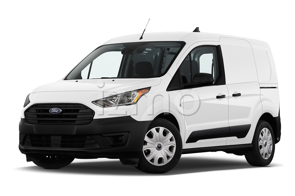 Stock pictures of low aggressive front three quarter view of 2019 Ford Transit-Connect XL 5 Door Car Van Low Aggressive
