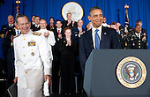 Chairman of the Joint Chiefs of Staff Admiral Michael Mullen introduces United States President Barack Obama before a speech about the administration's efforts to prepare the nation's veterans for the workforce at the Washington Navy Yard in Washington, DC, Friday, August 5, 2011. .Credit: Olivier Douliery / Pool via CNP