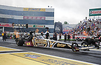 Jun. 1, 2012; Englishtown, NJ, USA: NHRA top fuel dragster driver Khalid Albalooshi during qualifying for the Supernationals at Raceway Park. Mandatory Credit: Mark J. Rebilas-