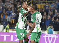 BOGOTA - COLOMBIA, 18-02-2018: Andres Renteria (Izq) jugador de Atlético Nacional celebra después de anotar un gol a Millonarios partido por la fecha 4 de la Liga Águila I 2018 jugado en el estadio Nemesio Camacho El Campin de la ciudad de Bogotá. / Andres Renteria (L) player of Atletico Nacional celebrates after scoring a goal to Millonarios during the match for the date 4 of the Liga Aguila I 2018 played at the Nemesio Camacho El Campin Stadium in Bogota city. Photo: VizzorImage / Gabriel Aponte / Staff.