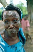 Uganda. Kayunga district. Nazigo. The smiling seventy five years old farmer Mrs Nabwany .© 2004 Didier Ruef
