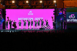 Mitchelton-Scott on stage at the Teams Presentation held in Piazza Maggiore Bologna before the start of the 2019 Giro d'Italia, Bologna, Italy. 9th May 2019.<br /> Picture: Massimo Paolone/LaPresse | Cyclefile<br /> <br /> All photos usage must carry mandatory copyright credit (&copy; Cyclefile | Massimo Paolone/LaPresse)