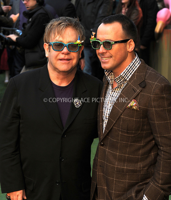 "WWW.ACEPIXS.COM . . . . .  ..... . . . . US SALES ONLY . . . . .....January 30 2011, London....Elton John and David Furnish at the UK film premiere of ""Gnomeo & Juliet"" at the Odeon Leicester Square on January 30 2011 in London....Please byline: FAMOUS-ACE PICTURES... . . . .  ....Ace Pictures, Inc:  ..Tel: (212) 243-8787..e-mail: info@acepixs.com..web: http://www.acepixs.com"