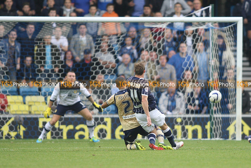 Martyn Woolford of Millwall scores opening goal - Millwall vs Leeds United - Sky Bet Championship Football at the New Den, South Bermondsey, London - 28/09/13 - MANDATORY CREDIT: George Phillipou/TGSPHOTO - Self billing applies where appropriate - 0845 094 6026 - contact@tgsphoto.co.uk - NO UNPAID USE