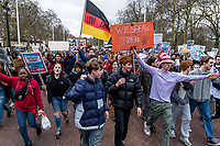 London, England on 15 March 2019: the protesters students move on the street during the youth climate strike in London. The protest against climate change and urge the government to take action.The global movement has been inspired by teenage activist Greta Thunberg, who has been skipping school every Friday since August to protest outside the Swedish parliament. Photo Adamo Di Loreto/BunaVista*photo