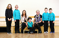 L-R Jessica, Alfie, Erin McGeough from Amazon, Jackson, deputy head teacher Lisa James Smith, twins Lewis and Leon