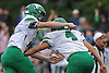 Briant DeFelice #4 of Farmingdale, right, celebrates with placeholder #11 Kevin McCormick after kicking a tie-breaking 34-yard field goal as time expired to defeat host Massapequa High School 45-42 in a Nassau County Conference I varsity football game on Saturday, Oct. 8, 2016.